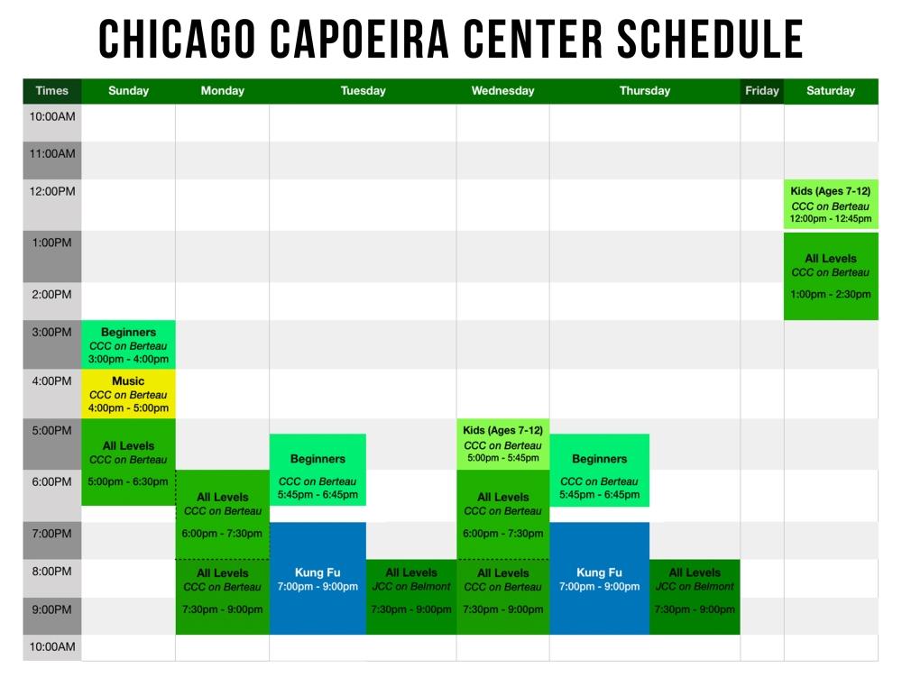 capoeiera schedule